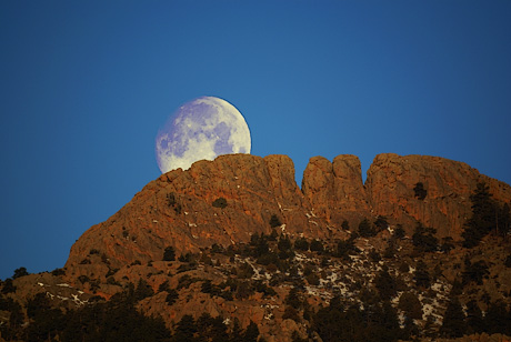 Moon over Horsetooth Rock near Fort Collins, CO