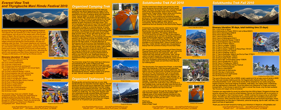 Peak to Peak Travel trekking brochure